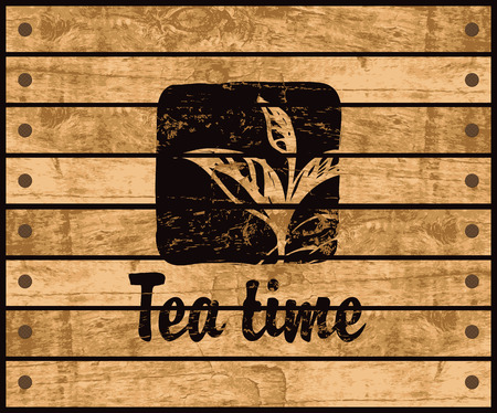 banner with the logo of the tea time with a pattern tea bush branch on a background wooden planks Ilustração