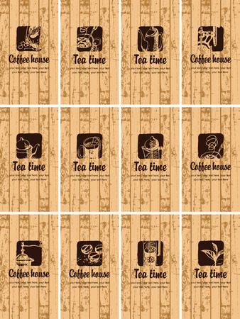 savor: set of business cards on the theme of tea and coffee on the background texture of wooden boards