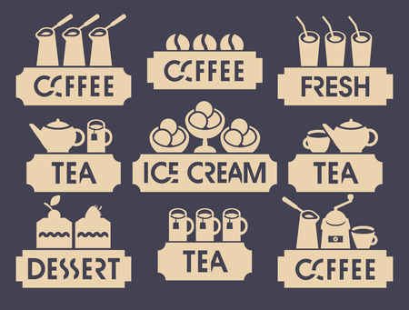 coffee beans: set of logo for restaurant or cafe shop on hot drink and dessert and juice