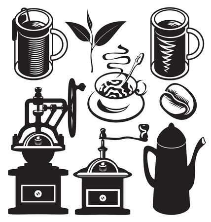 objects equipment: set of vector objects of kitchen equipment and utensils for hot drinks