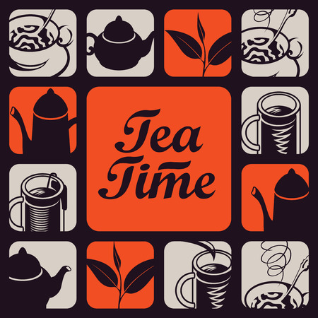 logo vector: set vector icon logo for tea time Illustration