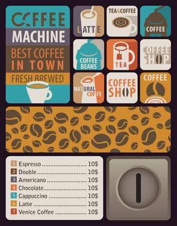 coffee machines: Vector Design elements for coffee machines with icons hot drinks