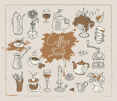 Conjunto de imágenes vectoriales en el tema de té y café Foto de archivo - 67912744