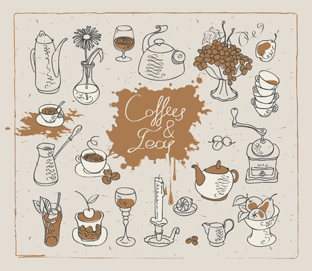 savor: set of vector images on the theme of tea and coffee