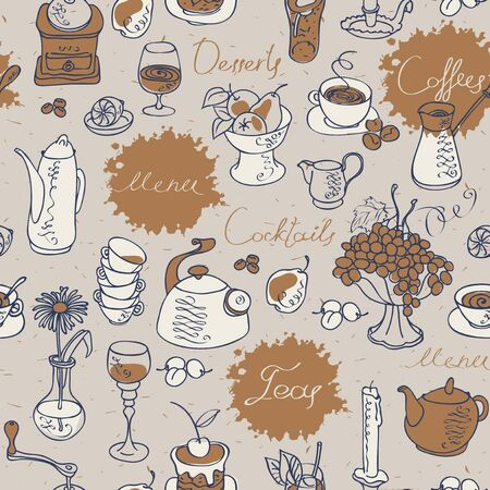 topic: seamless texture background on the topic of tea and coffee with cutlery and kitchenware