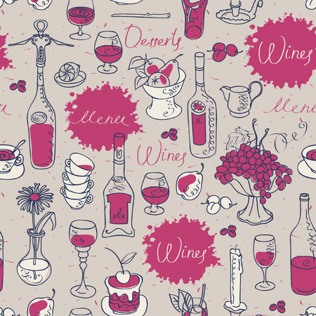 seamless texture background on the topic of wine with cutlery and kitchenware Illustration