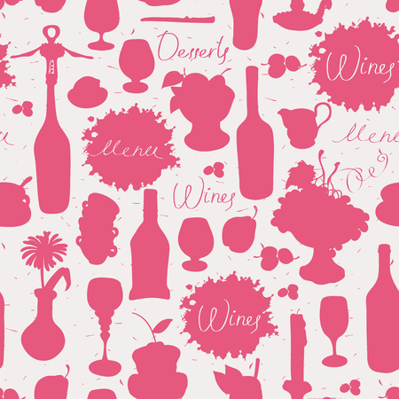 topic: seamless texture background on the topic of wine with cutlery and kitchenware Illustration