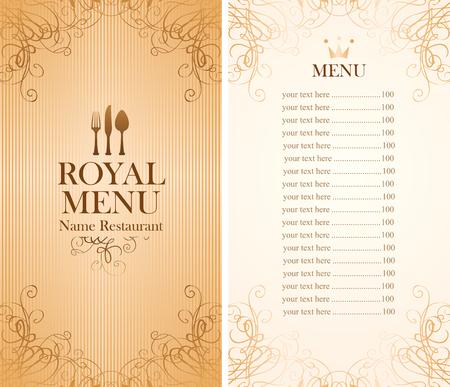 menú real para una cafetería o restaurante y Precio todo en oro Ilustración de vector