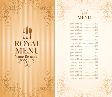 whorl: royal menu for a cafe or restaurant and Price all in gold