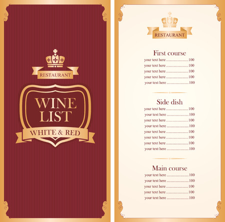 Royal wine list menu with a crown and price in red and gold color Vector Illustration