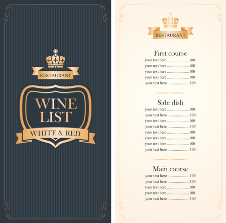 Royal wine list menu with a crown and price in red and gold color