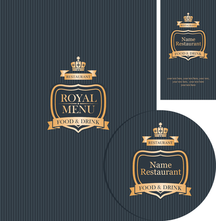cafe menu: set of design elements for a cafe or restaurant with cover menu , stand for drinks and business card