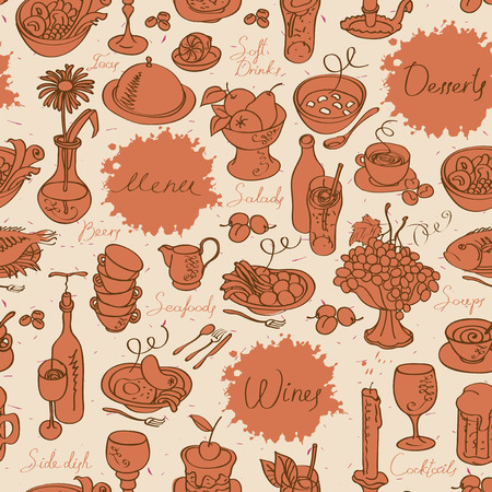 seamless texture of the pictures of kitchen utensils and various dishes