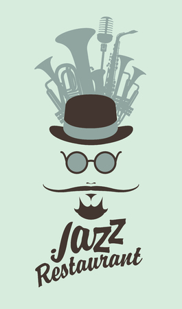 logo music: man face with a mustache and wearing a hat and glasses wind musical instruments and an inscription jazz restaurant in hipster style