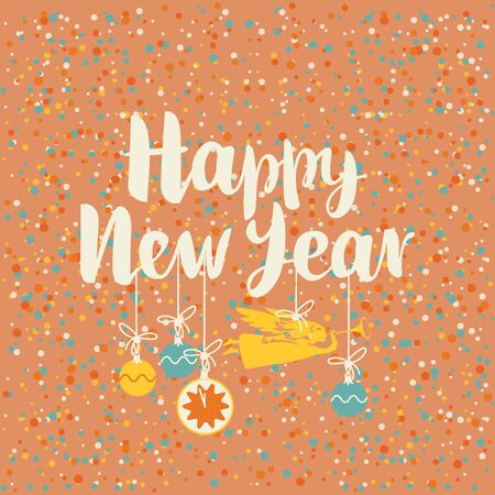 happy new year text: vector background with the words Happy New Year on the background of snowflakes and Christmas decorations with Christmas angel