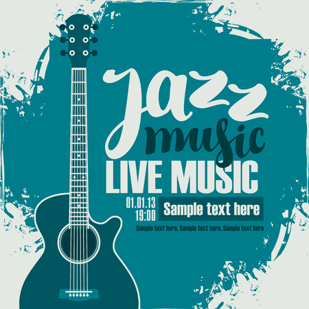 poster for the jazz festival with acoustic guitar Stock Illustratie