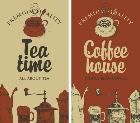 hot: set of vector banners on the theme of tea and coffee with pictures of kitchen equipment