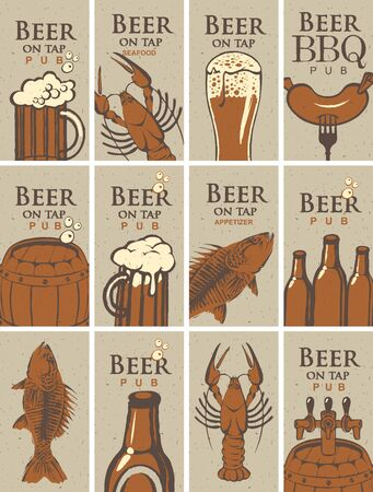 bbq barrel: set of business cards for the pub on the subject of beer and snacks from SEAFOOD
