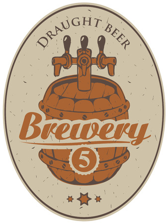 oval  alcohol: label for the brewery with a beer barrel