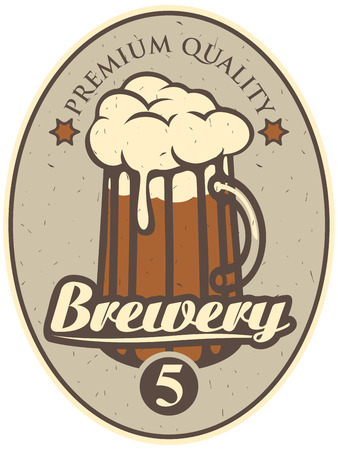 oval  alcohol: label for the brewery with a beer glass Illustration