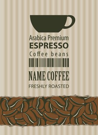cardboard texture: label for coffee beans with a cardboard texture and a cup