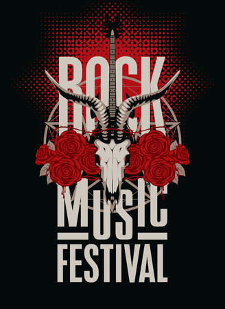 heavy metal: banner poster for festival rock music with goat skull, roses and electric guitar