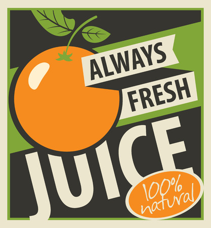 Banner with oranges and inscription always fresh juices Illustration