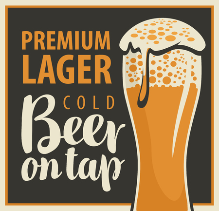 beverage: vector banner with glass and inscription beer on tap Illustration