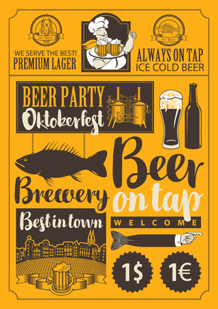 beer house: set of vector objects and inscriptions on beer theme for the design of the pub and brewery
