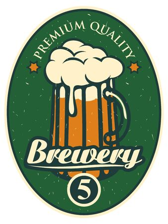 label for the brewery with a beer glass Illustration
