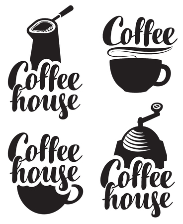 inscription: set of logos for coffee house with a cup and grinder