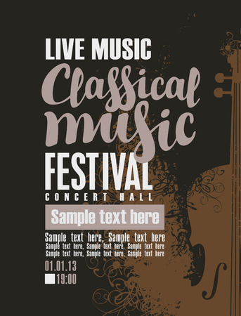 poster for a concert of classical music with violin 일러스트