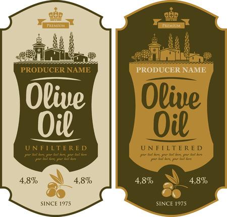 aceite de oliva: etiqueta de conjunto de vectores de aceite de oliva y el paisaje campo italiano