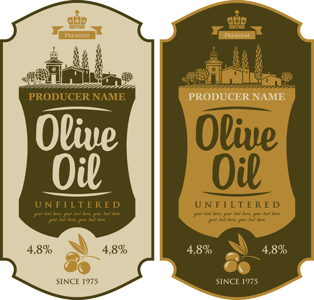 vector set label for olive oil and Italian countryside landscape