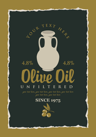vector label for olive oil with a clay jug