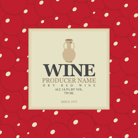plant to drink: wine label with a clay jug in bunch of grapes background