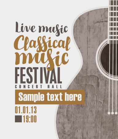 live band: vector banner for the concert of classical live music with a guitar