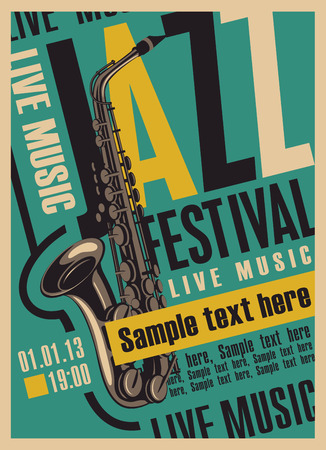 concert hall: retro poster for the jazz festival with a saxophone