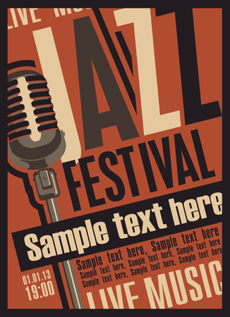 concert hall: retro poster for the jazz festival with a microphone