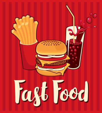 banner with fast food with cola, hamburger and fries 일러스트