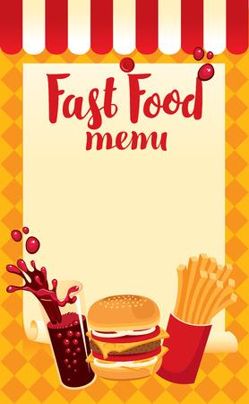 menu price fast food with cola, hamburger and fries