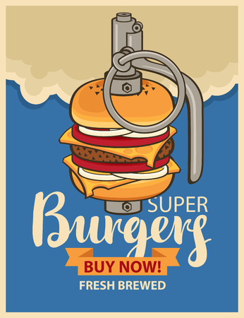 vintage cafe: Super Burger in military grenade in a retro style Illustration