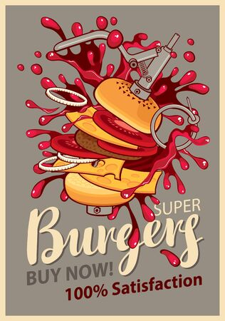 carne de pollo: Retro banner with cheeseburger with splashes of explosion