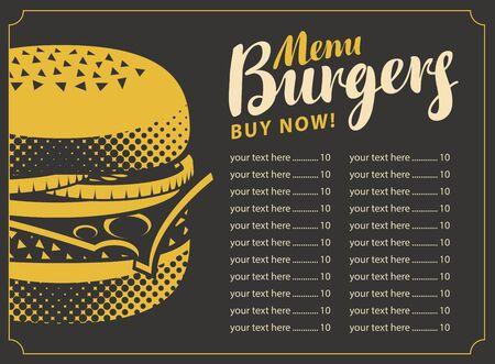 prijslijst menu voor het restaurant fastfood met hamburger op een zwarte achtergrond in retro stijl