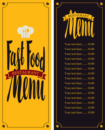 restaurant  menu: vector menu for fast food restaurant with price