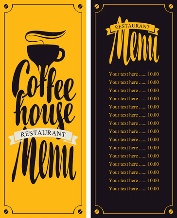 coffe house menu with cup and price Illustration