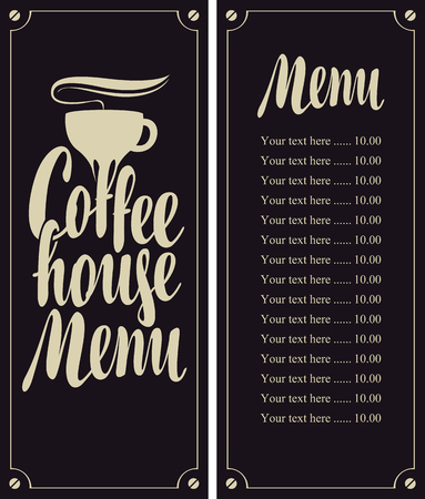 coffee house: coffee house menu with cup and price