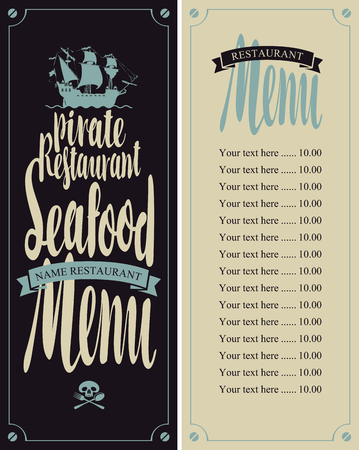 frigate: vector menu for seafood restaurants with pirate sailing frigate and Price Illustration