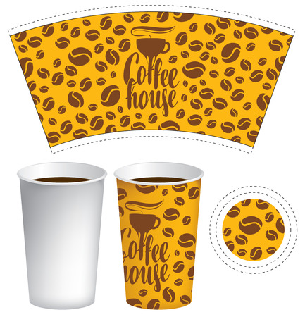 template of paper cup for hot drink with the background of coffee beans