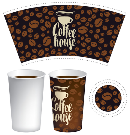 coffe break: template of paper cup for hot drink with the background of coffee beans